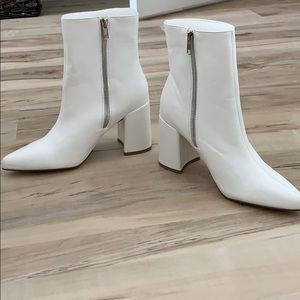 White Booties Chunky Heel